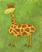Girl Paintings - Norman the Giraffe by Katie Carlsruh