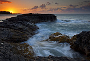 Tidepool Framed Prints - North Shore Sunset Framed Print by Mike  Dawson