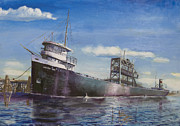 Great Lakes Ship Paintings - Northern Lights by Christopher Jenkins