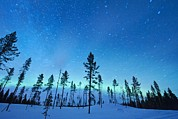Snowy Night Photos - Northern Lights by Jeremy Walker