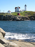 Nubble Lighthouse Framed Prints - Nubble in October Framed Print by Bridget Mullane
