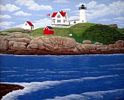 Cape Neddick Lighthouse Painting Metal Prints - Nubble Lighthouse Metal Print by Frederic Kohli