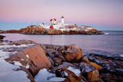 Maine Lighthouses Framed Prints - Nubble Winter Dusk Framed Print by Susan Cole Kelly