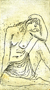 Wood Block Print Drawings - Nude II A.P. by Karin Zukowski