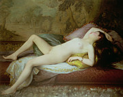 Unclothed Paintings - Nude lying on a chaise longue by Gustave-Henri-Eugene Delhumeau