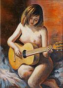 Acrylics On Canvas Paintings - Nude Music by Ekaterina Mortensen