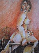 Bodyart Drawings Originals - Nude on Chair by Brigitte Hintner
