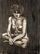 Mono Drawings Prints - Nude Print by Thomas Valentine