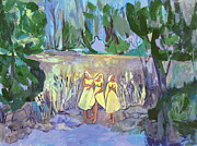 Nuns Painting Prints - Nuns in the Moonlight Print by Betty Pieper