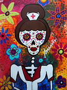 Turkus Framed Prints - Nurse Day Of The Dead Framed Print by Pristine Cartera Turkus