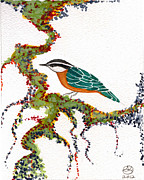 Beardedladygreetings Tapestries - Textiles Prints - Nuthatch TWO Print by Alexandra  Sanders