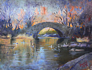 Ducks Paintings - NYC Central Park by Ylli Haruni