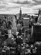 New York City Landscape Posters - NYC Downtown Poster by Nina Papiorek