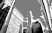 New York City Skyline Digital Art Framed Prints - NYC Looking Up BW3 Framed Print by Scott Kelley