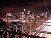 Building Prints - NYC Night Lights Print by Nina Papiorek