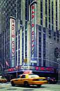 Nyc Taxi Framed Prints - NYC Radio City Music Hall Framed Print by Nina Papiorek