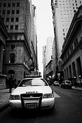 Patrol Car Framed Prints - Nypd Police Patrol Car Parked In Wall Street Downtown New York City Framed Print by Joe Fox