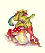 Frog Mixed Media Posters - O Solo Mio Poster by Peggy Wilson