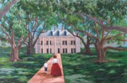 Oak Alley Plantation Painting Framed Prints - Oak Alley Plantation Framed Print by Gene Ritchhart