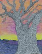 Nature Scene Drawings Prints - Oak tree Print by Rachel Zuniga