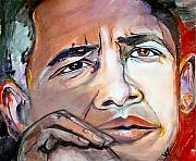 Barack Obama Painting Posters - Obama Ii Poster by Valerie Wolf