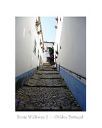 Hand Crafted Art - Obidos Stone Walkway I Portugal by John A Shiron