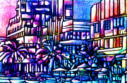 Abstract Realist Landscape Metal Prints - Ocean Drive Metal Print by Giuliano Cavallo