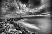 Black And White Photos - Oceanside Harbor Jetty 3 by Larry Marshall