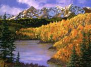 Autumn Trees Painting Posters - October Colors Poster by David Lloyd Glover