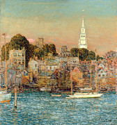Boats On Water Prints - October Sundown Print by Childe Hassam