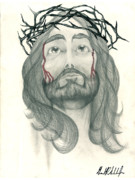 Jesus Drawings Posters - Ode to the Man Upstairs Poster by Gerard  Schneider Jr