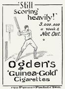 Baseball Bat Photo Framed Prints - Ogdens Cigarettes, 1897 Framed Print by Granger