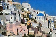 Houses Paintings - Oia town by George Atsametakis