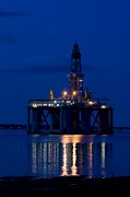 Submersible Posters - Oil Drilling Rig At Night, North Sea Poster by Duncan Shaw