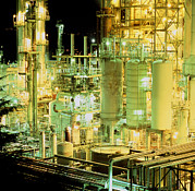 Oil Refinery Photo Posters - Oil Refinery At Night Poster by Kaj R. Svensson