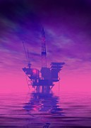 Drilling Rig Framed Prints - Oil Rig, Artwork Framed Print by Victor Habbick Visions