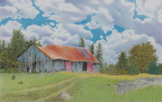 Field. Cloud Drawings Posters - Old barn Poster by Wilfrid Barbier