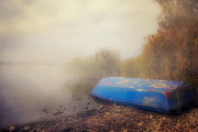 In The Fog Photo Posters - Old Boat In Morning Mist Poster by Joana Kruse