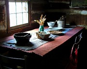 Mason Jars Photos - Old Cabin Table by Julie Dant