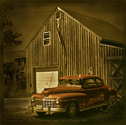 Forties Posters - Old car old barn Poster by Jim Wright