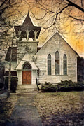 Front Porch Posters - Old Church Poster by Jill Battaglia