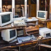 Broken Down Photos - Old Computers in Storage by Eddy Joaquim