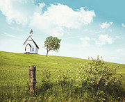 Summer Scene Posters - Old country school house  on a hill  Poster by Sandra Cunningham