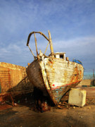 Jaffa Photos - Old dilapidated wooden boat  by Ofer Zilberstein