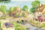 Old Mixed Media - Old English Village by Morgan Fitzsimons