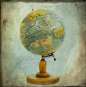 Texture Textured Prints - Old globe Print by Bernard Jaubert