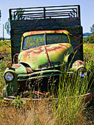 Antique Autos Framed Prints - Old green truck Framed Print by Garry Gay