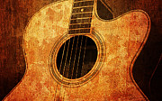 Text Mixed Media Prints - Old Guitar Print by Nattapon Wongwean