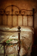 Bed Quilt Posters - Old Iron Bed Poster by Jill Battaglia