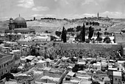 Black And White Digital Art Posters - Old Jerusalem Poster by Munir Alawi